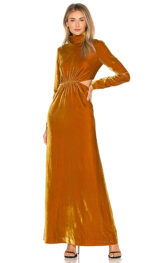 Ronny Kobo Sova Velvet Dress in Mustard