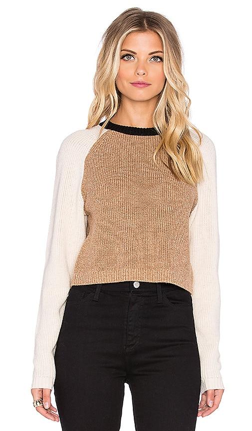 Ronny Kobo Antonina Crop Sweater in Black & Camel