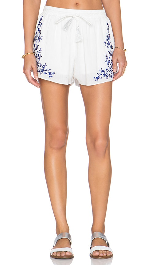 Rory Beca Nia Embroidered Shorts in Blue
