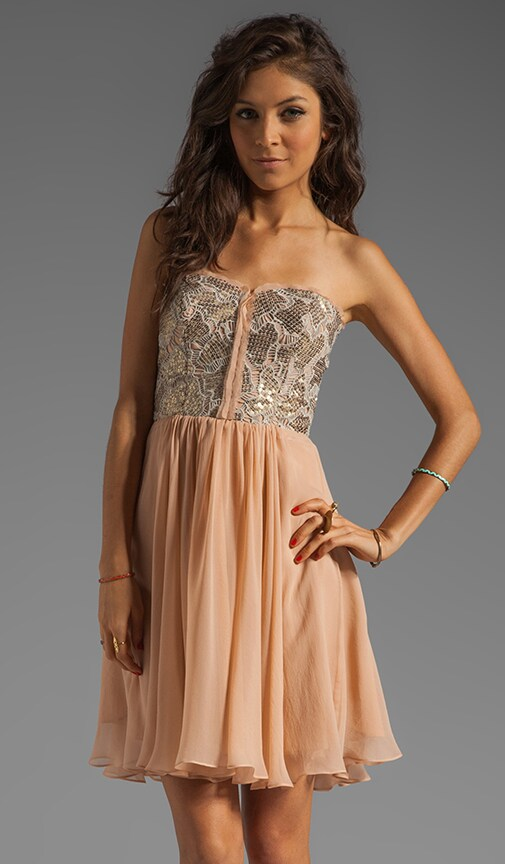 Camo Sequin Strapless Dress