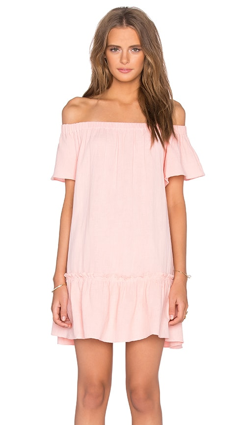 Rebecca Taylor Off The Shoulder Gauze Dress in Peach
