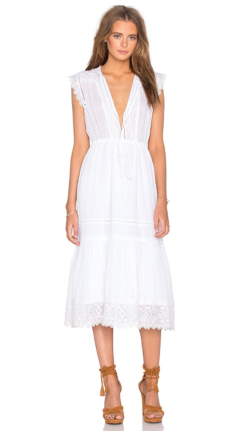 Rebecca Taylor Sleeveless Stitched Square Embroidery Dress in White