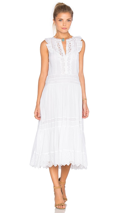 Rebecca Taylor Sleeveless Voile Lace Dress in Sea Salt