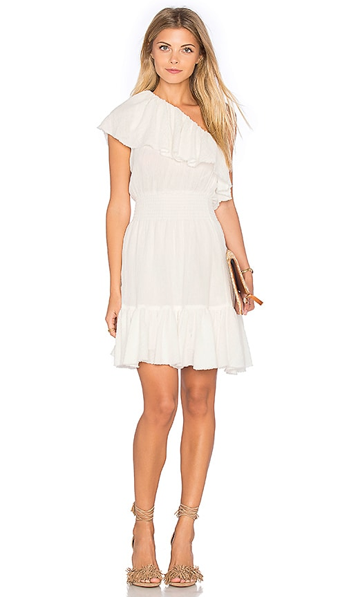 Rebecca Taylor One Shoulder Gauze Dress in White