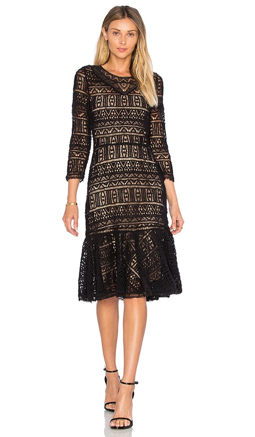 Rebecca Taylor Long Sleeve Lace Dress in Black