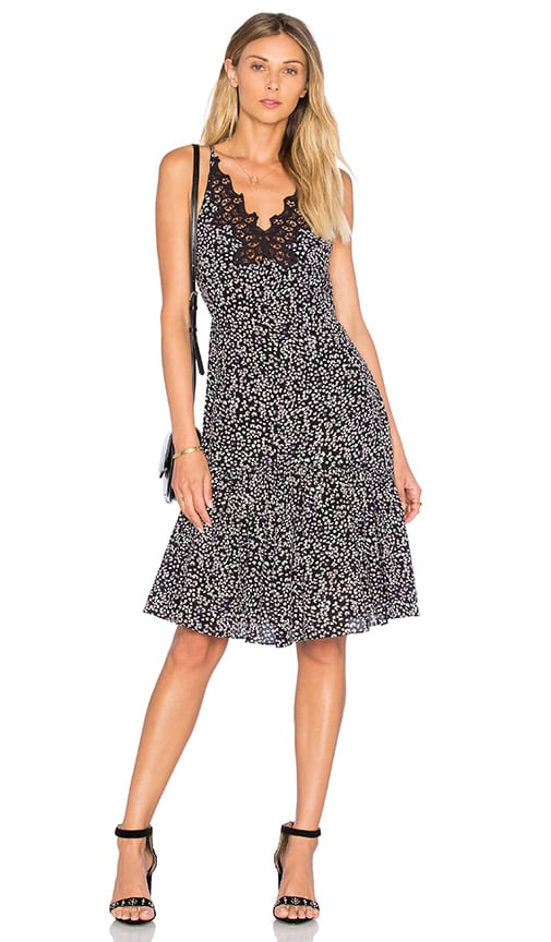 Rebecca Taylor Sleeveless Pop Flower Slip Dress in Black