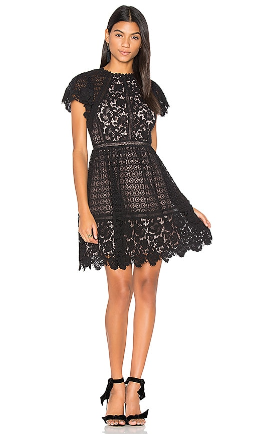 Rebecca Taylor Lace Mix Dress in Black