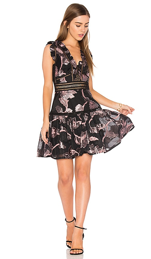 Rebecca Taylor Sleeveless Metallic Dress in Black