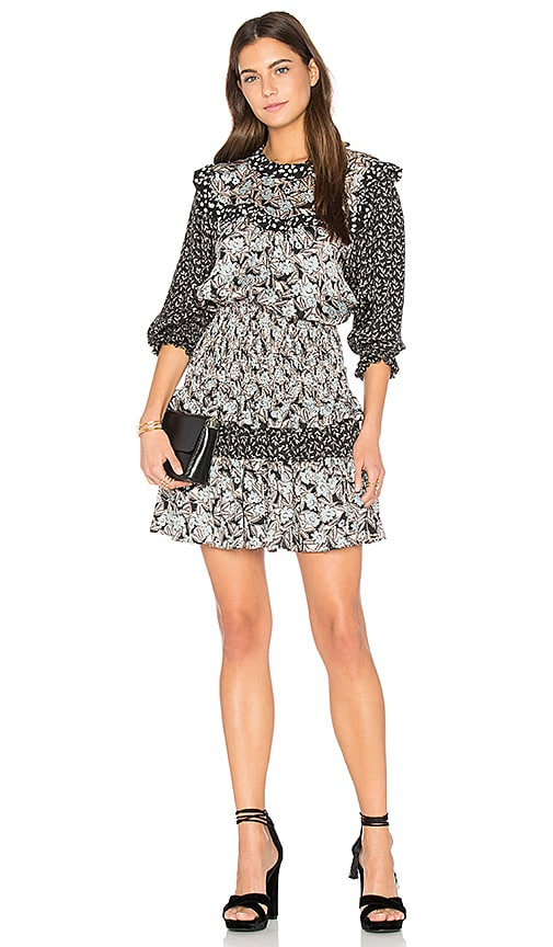 Rebecca Taylor Long Sleeve Bijou Patch Dress in Black