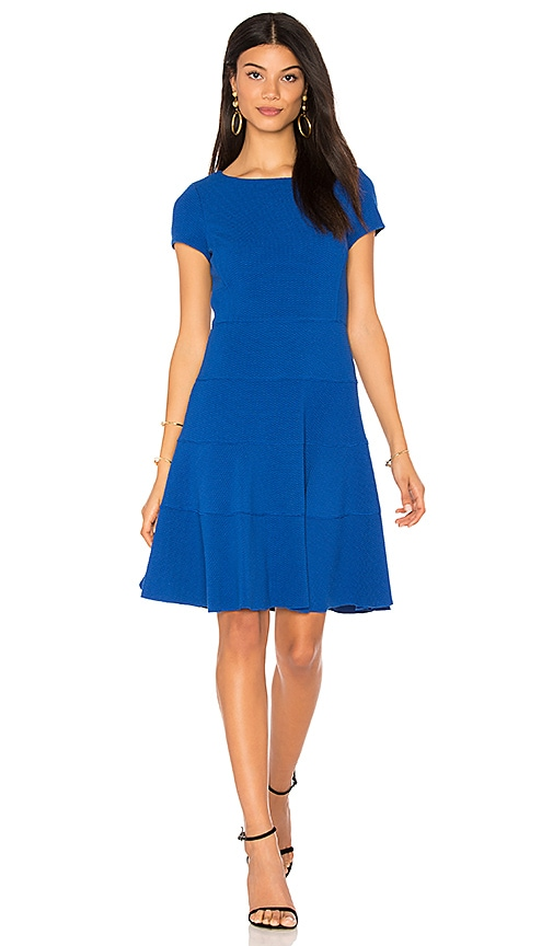 Rebecca Taylor Short Sleeve Diamond Texture Dress in Blue