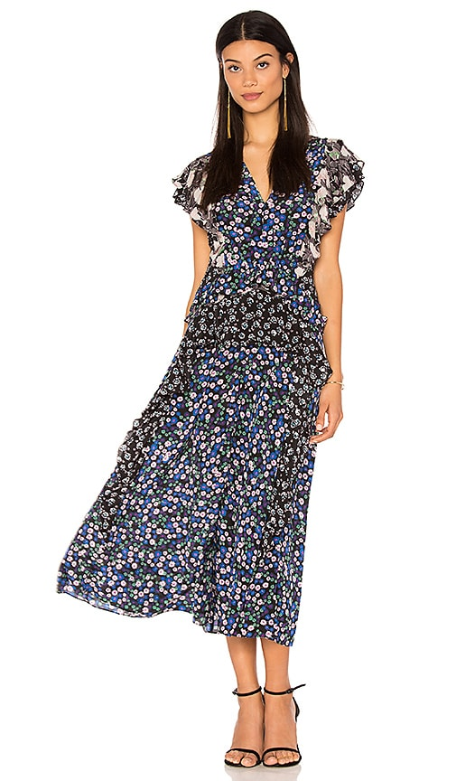 Rebecca Taylor Short Sleeve Patch Print Dress in Black