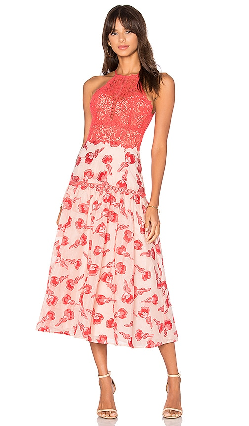 Rebecca Taylor Floral Jacquard Midi Dress in Red