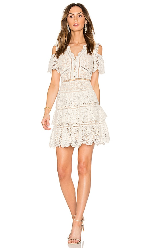 Rebecca Taylor Eliza Cold Shoulder Lace Dress in White