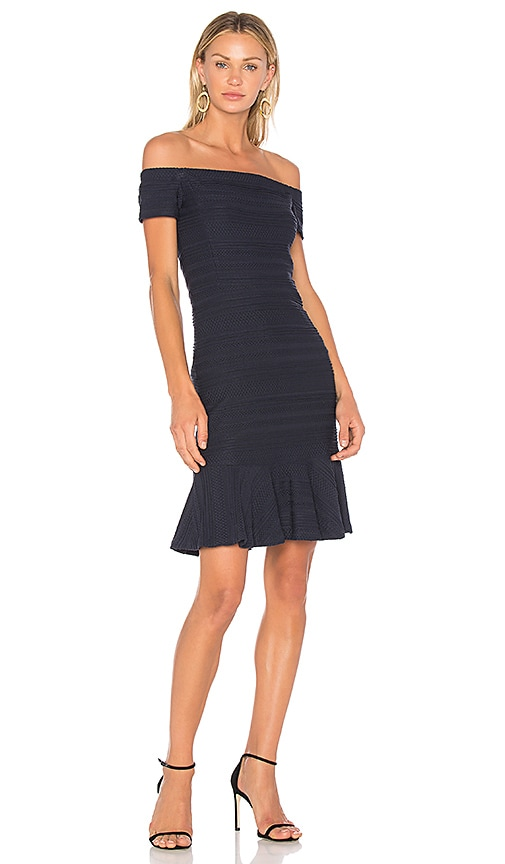 Rebecca Taylor Off Shoulder Stretch Texture Dress in Navy