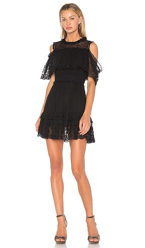 Rebecca Taylor Alyce Open Shoulder Dress in Black