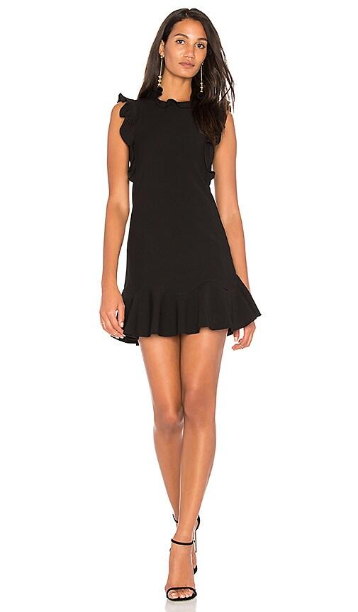 Rebecca Taylor Ruffle Mini Dress in Black