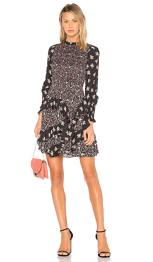 Rebecca Taylor Print Mix Dress in Black