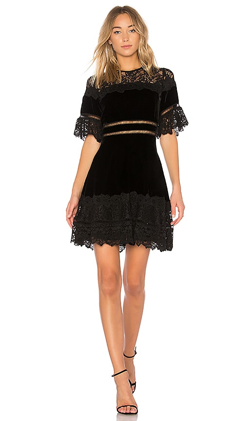 Rebecca Taylor Velvet & Lace Dress in Black