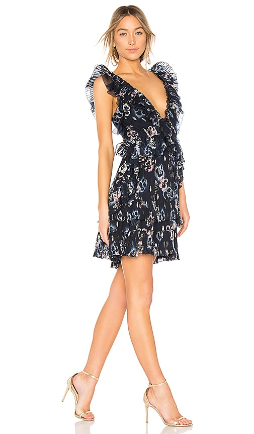 Rebecca Taylor Faded Floral Dress in Navy