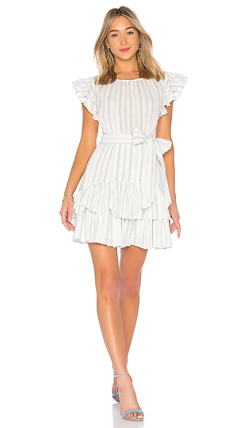 Rebecca Taylor Stripe Ruffle Dress in White