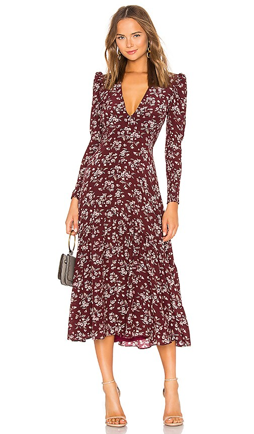 Rebecca Taylor Tilda Dress In Burgundy Combo Revolve
