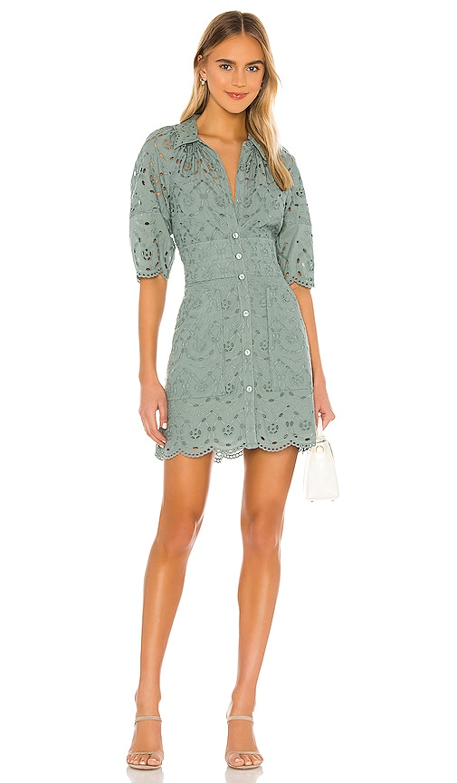 Rebecca Taylor Short Sleeve Mina Eyelet Dress In Spruce Revolve