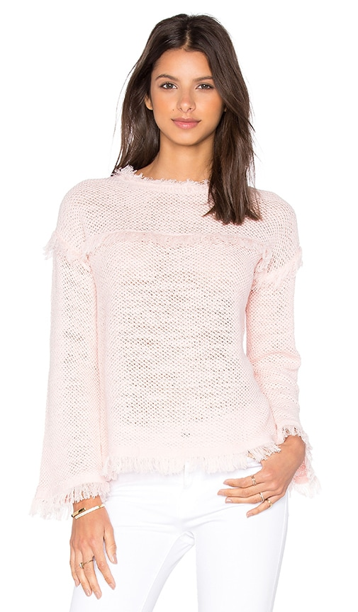 Rebecca Taylor Tuck Stitch Pullover Sweater in Blush