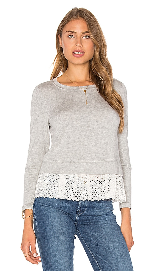 Rebecca Taylor Eyelet Terry Top in Gray