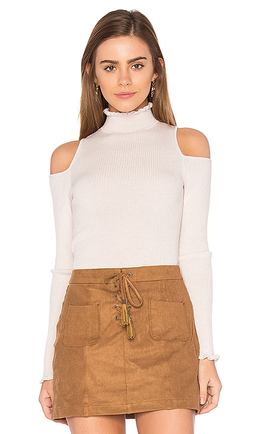 Rebecca Taylor Open Shoulder Ribbed Pullover in Blush
