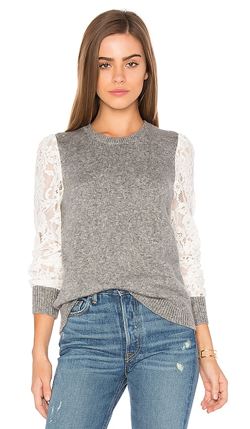 Rebecca Taylor Lace Sleeve Pullover in Gray