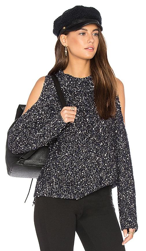 Rebecca Taylor Open Shoulder Boucle Pullover in Black