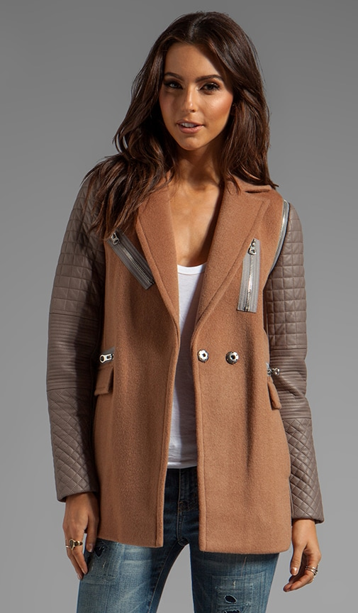RUNWAY Removable Leather Sleeved Coat