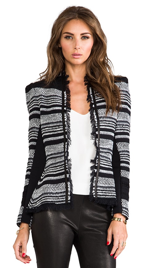 Stripe Tweed Peplum Jacket w/ Leather