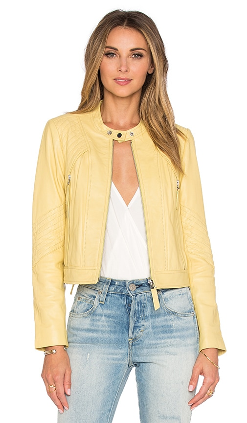 Rebecca Taylor Patched Leather Jacket in Yellow