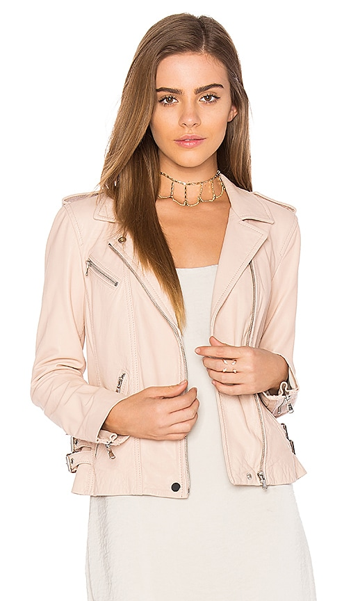 Rebecca Taylor Washed Leather Jacket in Blush