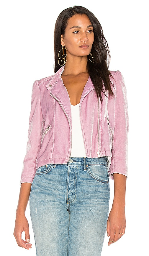 Rebecca Taylor Velvet Moto Jacket in Purple
