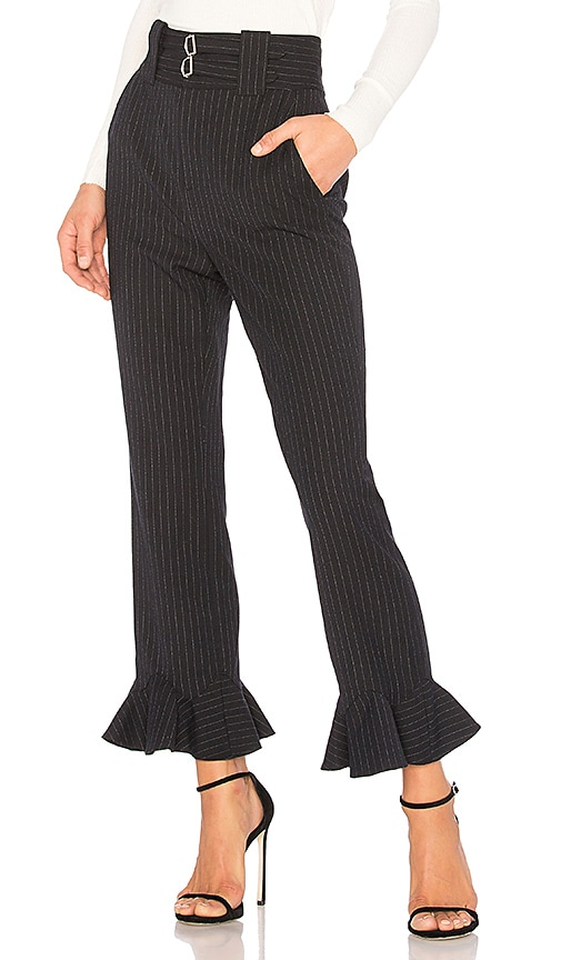 Rebecca Taylor Pinstripe Ruffle Pant in Navy