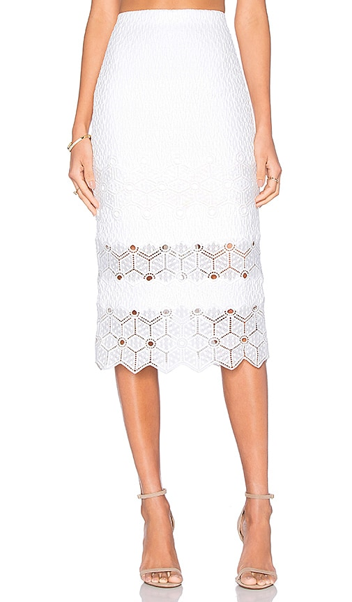 Rebecca Taylor Dia Lace Skirt in Snow