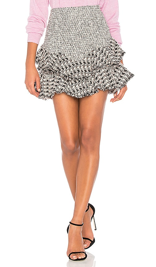 Rebecca Taylor Mixed Tweed Skirt in Black