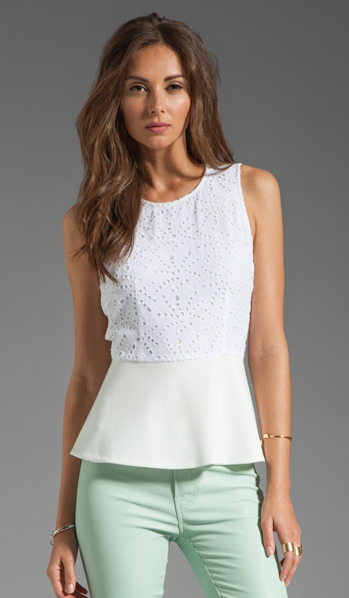 Eyelet Demi Peplum Top