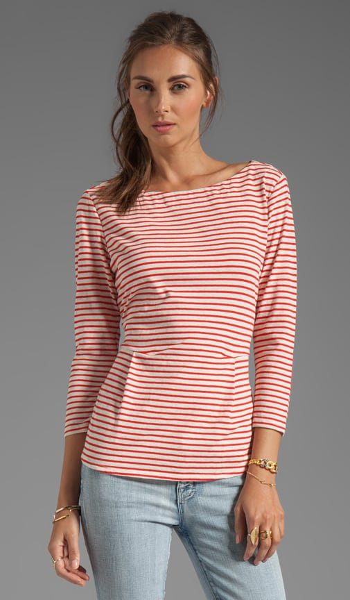 Striped Demi Peplum Tee