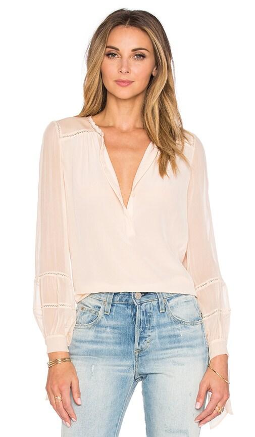 ba9c89f12267f5 Rebecca Taylor Long Sleeve Silk   Lace Top in Sugar Cream