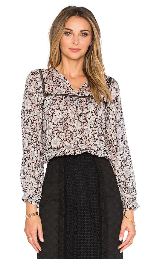 Rebecca Taylor Long Sleeve Lindsay Floral Top in Black & Cameo Pink