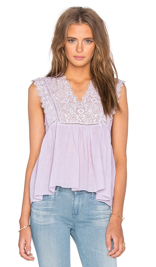 Rebecca Taylor Sleeveless Stitched Square Embroidery Top in Lilac