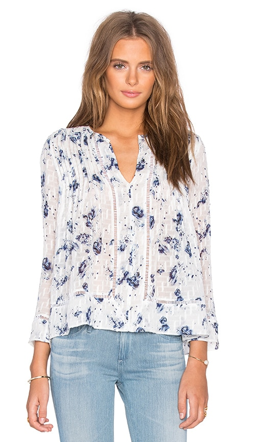 Rebecca Taylor Long Sleeve Meteor Flower Print Top in Indigo & Sea Salt