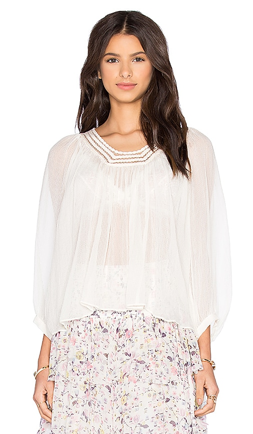 Rebecca Taylor Long Sleeve Lace Top in Blush