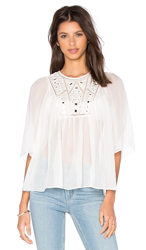 Rebecca Taylor Short Sleeve Mirror Eyelet Top in White