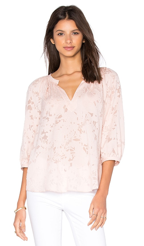 Rebecca Taylor Long Sleeve Victoria Clip Top in Pink