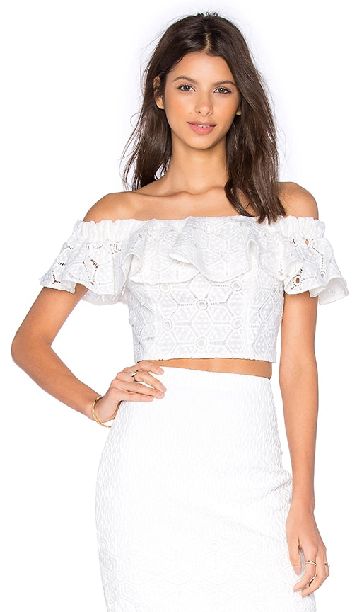 Rebecca Taylor Off The Shoulder Diamond Lace Top in White