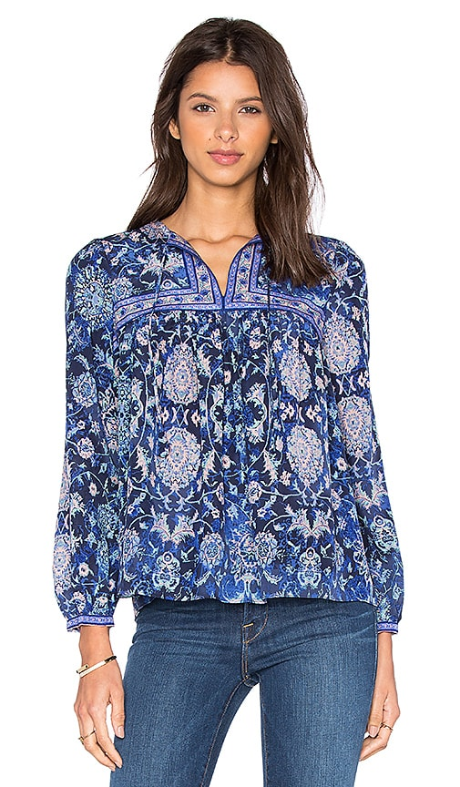 Rebecca Taylor Long Sleeve Dreamweaver Top in Blue